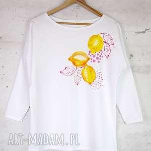 CYTRYNY bluzka bawełniana biała z nadrukiem, bluzka, bluza, biała,