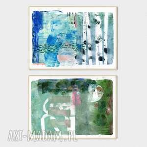 Ręcznie wykonane grafiki A4 abstrakcja - zestaw, grafika, obraz, monotypia, malarstwo
