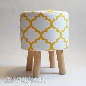 Pufa Duża Koniczyna Biało - Żółta , pufa, stołek, ryczka, dziecko, maroco
