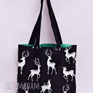 Torba na zakupy ekologiczna Shopperka jelenie zielone, torba, zakupy, shopperka, deer