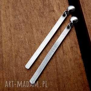 srebrne kolczyki sople - srebro pr 925, geometryczne, surowe, nowoczesne, patyczki