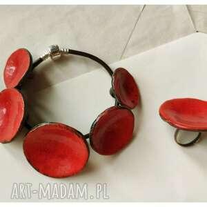 bransoletka i pierścionek etno karminowe, ceramika, bransoletka, pierścionek