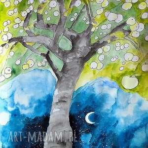 Praca akwarelą i piórkiem ANTONÓWKI artystki plastyka Adriany Laube, grafika, rysunek