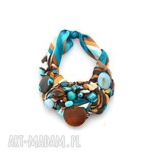 TURKUSOWY MELANŻ naszyjnik handmade, naszyjnik, kolia, koraliki, turkusowy, kolorowy