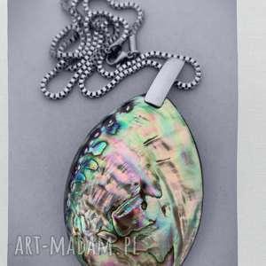 naszyjnik z muszlą paua abalone muszla paua, elegancki wisior, naszyjnik na jesień