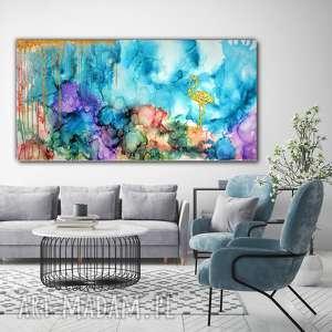 - flaming w tęczowej mgle obraz ręcznie malowany na płótnie 120x60 cm