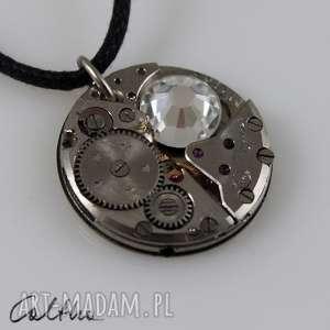 Zegarowy z kryształem - wisiorek, wisior, zawieszka, swarovski, steampunk
