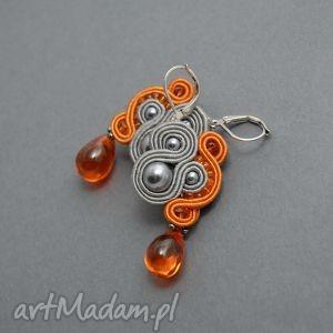 kolczyki sutasz, soutache, sznurek, eleganckie, kolorowe, pomarańczowe, perełki