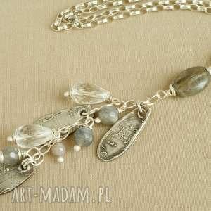 Naszyjnik ze srebra i kryształu górskiego, srebro, delikatny, kobiecy