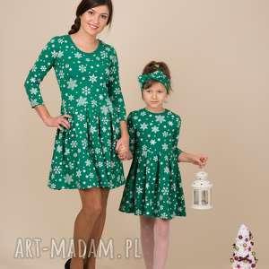 sukienki komplet sukienek śnieżynki zielone, śnieżynki, komplet, rozkloszowane