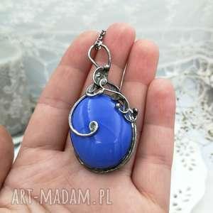 blue elegance - naszyjnik z wisiorem - naszyjnik wisior, niebieski wisior, wisior retro