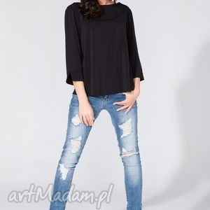 bluzka koszulowa z kopertowym tyłem t136 czarny, bluzka, koszula, szyfon, letnia