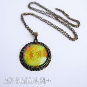 medalion, naszyjnik - mandala dobrego nastroju zdobiona, 3 cm, antyczny brąz