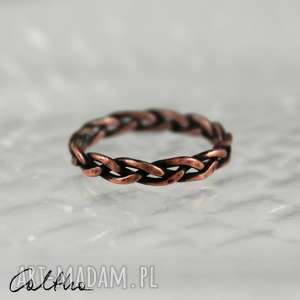 zapleciony - miedziany pierścionek rozm 10 171107-02
