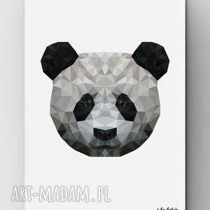 panda, plakat, grafika, wild, lowpoly, dom