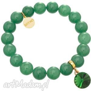 szmaragdowa zielona bransoletka awenturyn kryształ rivoli - swarovski