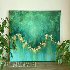 zielony abstrakcyjny obraz ręcznie malowany - serenity 60x60cm, kolorowy