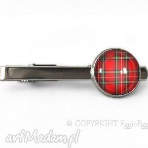egginegg szkocka krata - spinka do krawata - czerwona męska kratkę