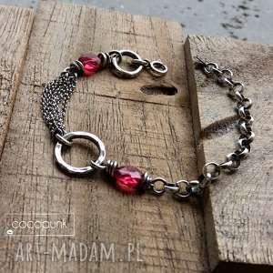 handmade srebro i kwarc rózowy - bransoletka łańcuszkowa z kamieniami