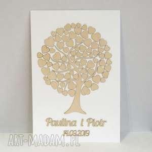 księga gości - drzewko z sercami, księga, gości, drzewko, drewno, tablica, serca
