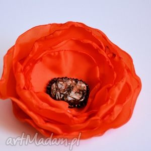 broszki broszka - pomarańczowa dama, broszka, kwiat, tkanina, kamień, ogień