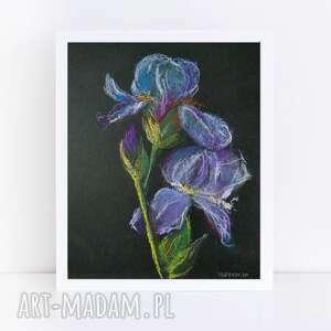 paulina lebida irysy-praca wykonana pastelami formatu a5, pastel, papier, irysy