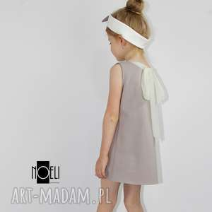 Sukienka cappuccino z tiulowa kokarda, lekka, letnia