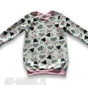 koty długa bluza dla dziewczynki, prosta tunika z dresówki, rozmiary 68-128