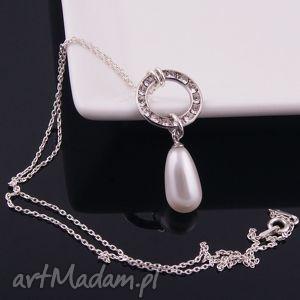 Wisiorek z białą perłą - ,wisiorek,biała,perła,swarovski,