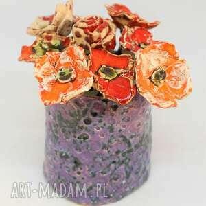 piękny wyjątkowy komplet kwiaty ceramiczne szt i wazon handmade rekodzieło