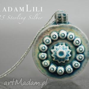 ornament naszyjnik z peruwiańskiej ceramiki - turkusowe, łańcuszek