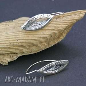 kolczyki srebrne ażurowe, kolczyki, srebrne, wiszące, listki, zapinane