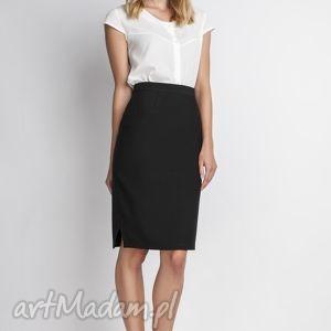 Klasyczna spódnica, SP112 czarny, elegancka, ołówkowa, kobieca, obcisła, czarna,