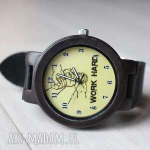 Drewniany zegarek WORK HARD, drewniany, motywacyjny, ekologiczny, lekki, męski