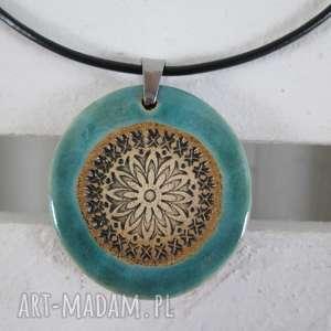 ceramika ana turkusowy ceramiczny naszyjnik, naszyjnik ceramika