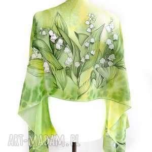 konwalie szal jedwabny ręcznie malowany zielony z białymi kwiatami na dzień
