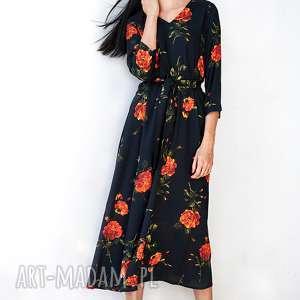Czarna sukienka w róże sukienki hanka sukienka, midi