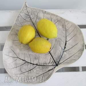 dekoracyjny talerz liść, ceramiczny, patera, ceramiczna, ozdobna, roślinny