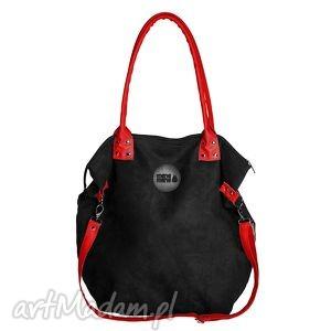 torba worek mysza czarna - worek, czarny, zamsz, czerwień, prezent, haft