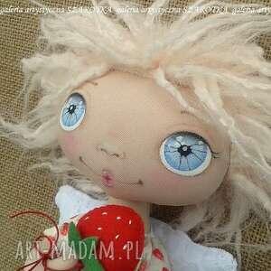 dekoracje aniołek truskawkowy, lalka - dekoracja tekstylna, ooak