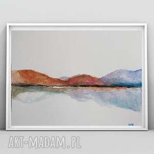 pejzaż i -akwarela format 24/32 cm, pejzaż, papier, brązy, abstrakcja, akwarela