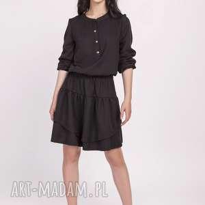 Sukienka z falbanką, suk175 czarny sukienki lanti urban fashion