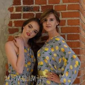 ręcznie wykonane bluzki bluzka kimono, oversize, cytryny