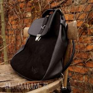 LILITH plecak/torba czarna skóra, plecak, zamsz, czerń, kobieca, pojemna