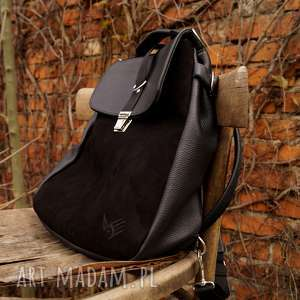 plecaki lilith plecak/torba czarna skóra, plecak, zamsz, czerń, kobieca