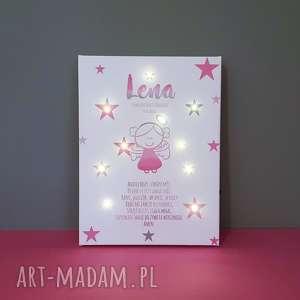 hand-made dla dziecka pamiątka chrztu świecący obraz led modlitwa aniołek lampka