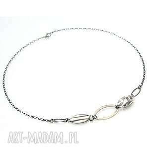 pod choinkę prezent, chain - naszyjnik, srebro, oksydowane, swarovski, łańcuch