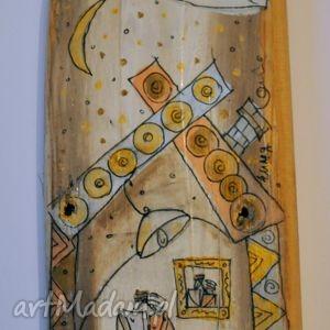Deska ręcznie malowana - Dom, 4mara, marinaczajkowska, szczęście, miłość, dom, sztuka