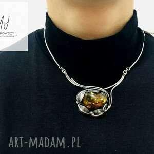 naszyjnik kolia ze srebra próba 925 z bursztynem bałtyckim rękodzieło prezent