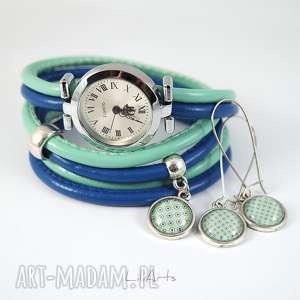 komplet - zegarek i kolczyki turkusowy, granatowy owijany, rzemienie